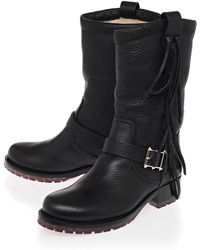 Valentino Black Leather Crockee Shearling Lined Biker Boots - Lyst