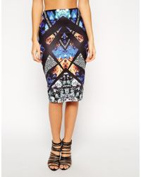 Asos Pencil Skirt in Kaleidoscope Print - Lyst