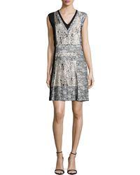 J. Mendel | Sleeveless V-neck Dress W/lace Insets | Lyst