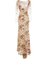 Blumarine Techno Rose Embroidered Evening Dress - Lyst
