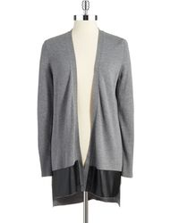 DKNY Faux Leather Accented Cardigan - Lyst