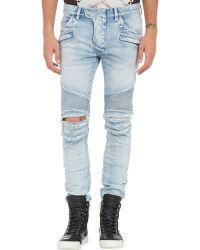 Balmain Ripped Denim Moto Jeans - Lyst