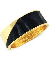 Vince Camuto - Goldtone Black Wide Hinged Bracelet - Lyst
