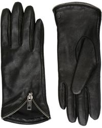 Karl Lagerfeld - Zipped Nappa Leather Gloves - Lyst