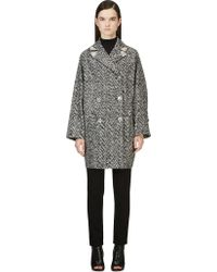 Versace Black and White Marled Knit Coat - Lyst