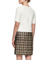 J. Mendel Shortsleeve Dress with Metallic Skirt - Lyst