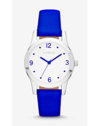 Express - Analog Leather Strap Watch - Neon Blue - Lyst