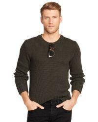 Ralph Lauren Black Label Cotton blend Crew Neck Sweater - Lyst
