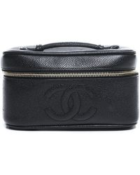 Chanel Pre-Owned Black Caviar Horizontal Cosmetic Case - Lyst