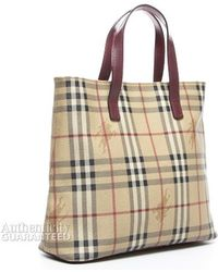 Burberry Pre-Owned Burbery Haymarket Check Tote Bag - Lyst