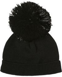 Federica Moretti - Raffia Pompom Ribbed Cotton Beanie Hat - Lyst
