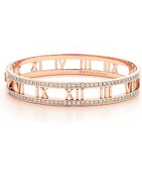 Tiffany & Co. - Atlas® Hinged Bangle In 18K Rose Gold With Diamonds, Medium - Lyst
