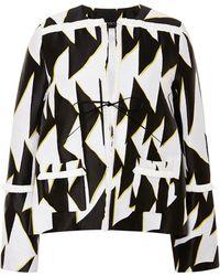 Thakoon Black and White Chevron Jacket with Raffia Trim - Lyst