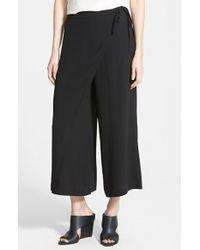 Eileen Fisher Wrap Front Wide Leg Silk Crop Pants - Lyst