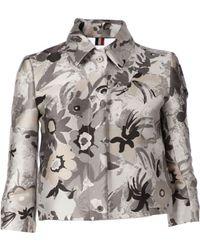 Thom Browne Floral Print Cropped Jacket black - Lyst