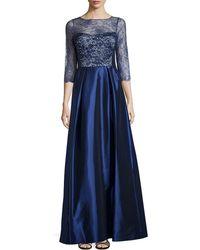 Teri Jon Lace And Taffeta 3/4-Sleeve Gown - Lyst