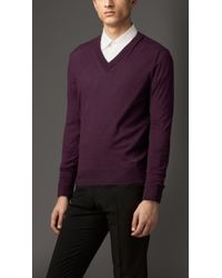 Burberry Cashmere Vneck Sweater - Lyst