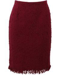 Oscar de la Renta Fringe Tweed Pencil Skirt - Lyst