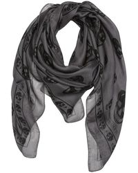 Alexander McQueen Grey and Black Silk Skull Printed Scarf - Lyst