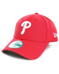 New Era Adjustable Canvas Strap Leather Phillies Red Cap - Lyst