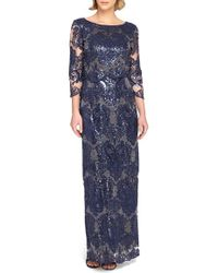 Tahari | Sequin Lace Popover Gown | Lyst