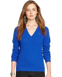 Polo Ralph Lauren Cable-knit V-neck Sweater - Lyst