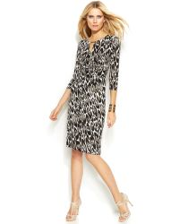 Inc International Concepts Petite Printed Faux-Wrap Dress - Lyst