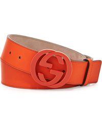 Gucci Interlocking G Gommato Belt - Lyst