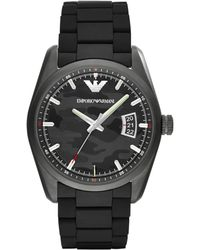 Emporio Armani Stainless Steel Camo Dial Watch black - Lyst