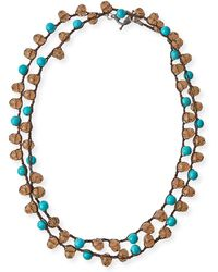 An Old Soul Smoke Crystal Turquoise Dyed Long Necklace Lyst