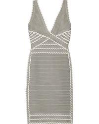 Hervé Léger Kenna Scalloped Bandage Mini Dress - Lyst