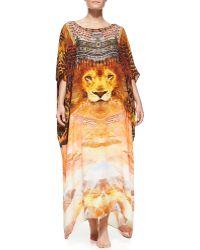 Camilla Lionprint Beaded Silk Caftan Coverup - Lyst