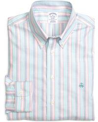 Brooks Brothers Slim Fit Oxford Stripe Sport Shirt - Lyst