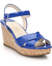 Prada Cork-Wedge Patent Leather Sandals blue - Lyst
