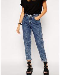 Asos Original Rigid Mom Jeans In Argentina Acid Wash - Lyst