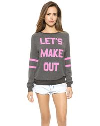 Wildfox Lets Make Out Pullover - Dirty Black - Lyst