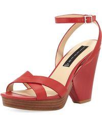 Steven by Steve Madden Rayven Leather Chunky Heel Sandal Red 6 - Lyst