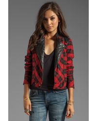 Tracy Reese - Tartan Plaid Little Moto Jacket with Leather in Red - Lyst