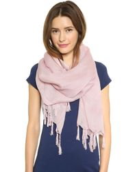 Love Quotes - Knotted Tassel Linen Scarf - Hydrangea - Lyst