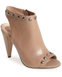 Vince Camuto 'Abbia' Leather Open Toe Sandal beige - Lyst