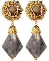 Jose & Maria Barrera Gray Agate Clip-On Drop Earrings - Lyst