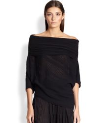 Donna Karan New York Ribbed Off-Shoulder Sweater - Lyst