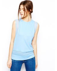 Asos Textured Shell Top With Sheer Panel - Lyst