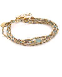 Sogoli | Stone Wrap Chain Bracelet - Gunmetal/gold/pyrite | Lyst