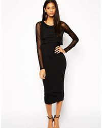 Asos Midi Dress in Knit with Sheer Overlay - Lyst