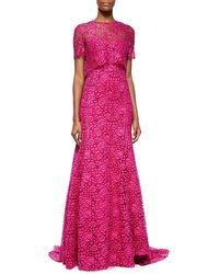 Lela Rose Fringe-Lace Overlay Gown - Lyst