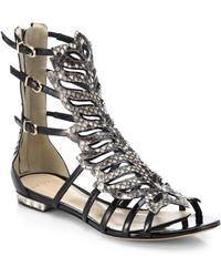 Alexandre Birman Watersnake & Leather Leaf Gladiator Sandals black - Lyst