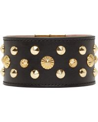 Alexander McQueen Black Studded Leather Cuff - Lyst