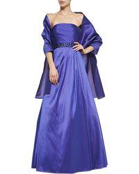 Ml Monique Lhuillier Strapless Beaded Waist Gown - Lyst