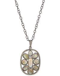 Siena Jewelry - Silver Labradorite & Diamond Mandala Pendant Necklace - Lyst